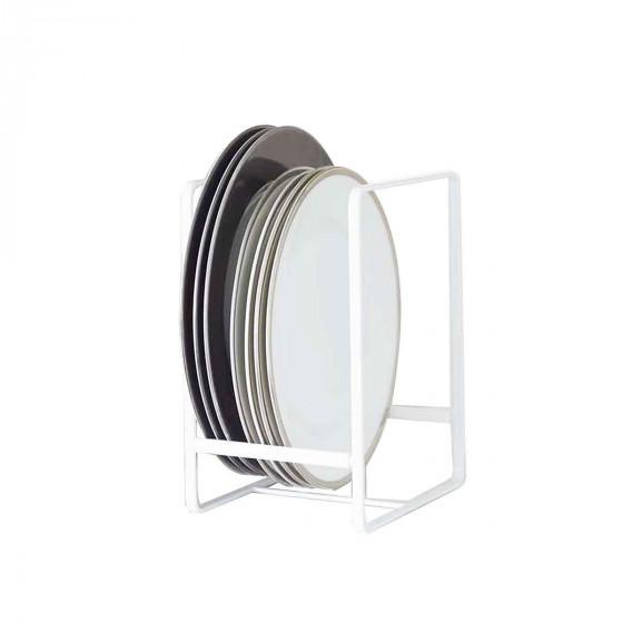 rangement des assiettes Range assiettes vertical en métal blanc.
