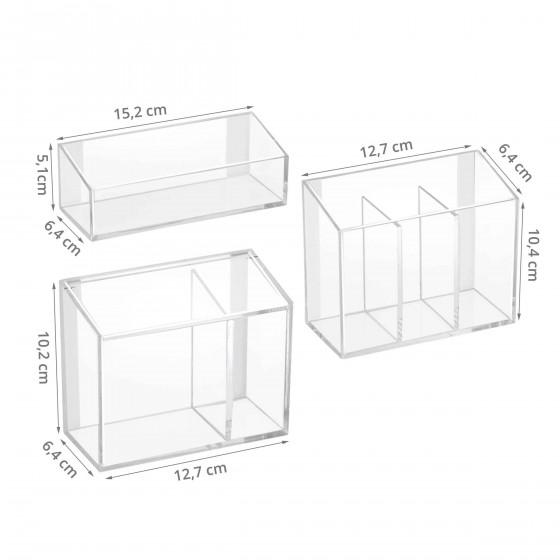 3 boîtes murales adhésives en acrylique transparent