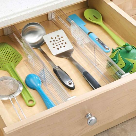 2 organisateurs extensibles de tiroir rangement - Organisateur de tiroir cuisine ...