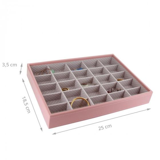 Plateau à bijoux rose intérieur gris avec 25 compartiments