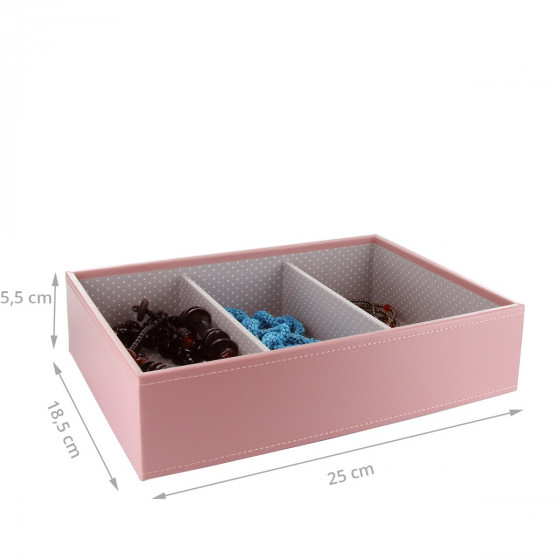 Plateau à bijoux rose intérieur gris avec 3 compartiments