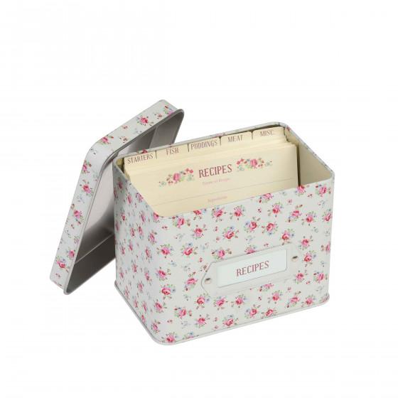 Boîte à recettes avec fiches et intercalaires