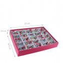 Plateau à bijoux fuchsia intérieur fleuri rose avec 25 compartiments