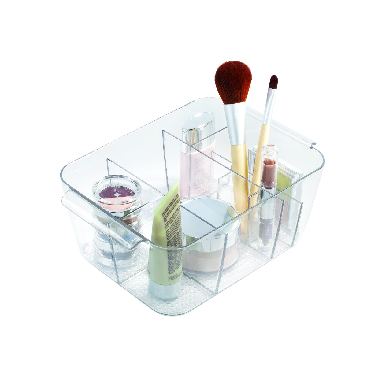 Bac transparent compartiments rangement maquillage - Pot pour pinceaux maquillage ...