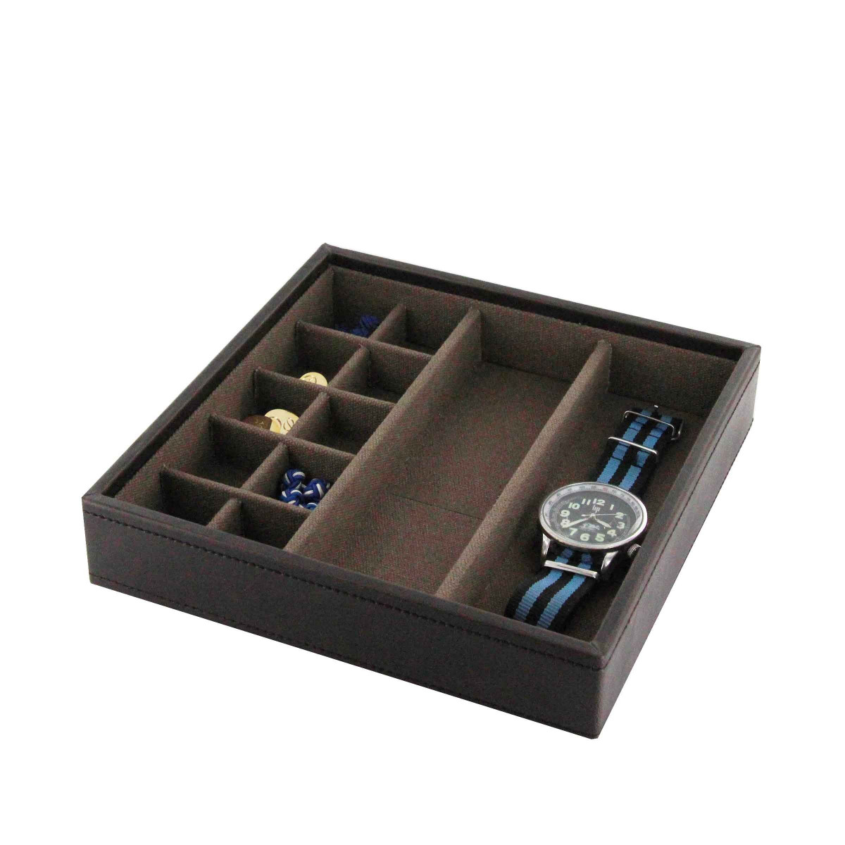 rangement boutons de manchette et montres plateau. Black Bedroom Furniture Sets. Home Design Ideas