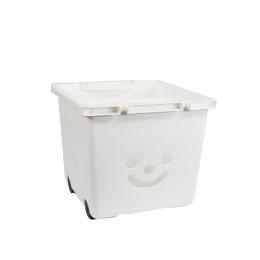 Bac à roulettes empilable en plastique blanc pour enfants