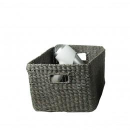 Grand panier gris en papier tressé. L