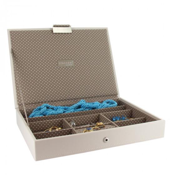 Boîte à bijoux avec couvercle vanille intérieur café