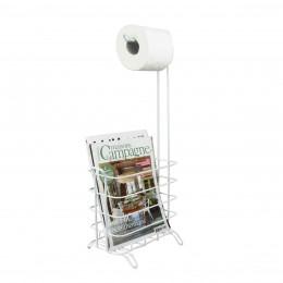 Dérouleur de papier toilette et porte-revues en métal blanc