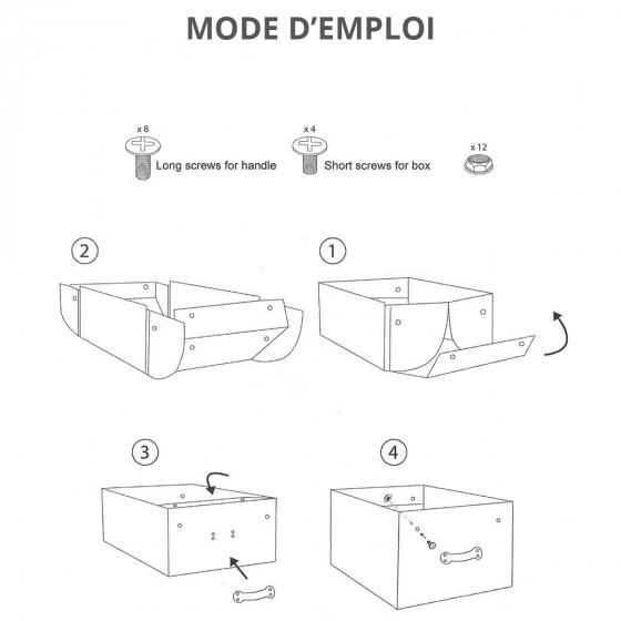 Grande boîte en carton blanc avec poignées métalliques et ardoise frontale
