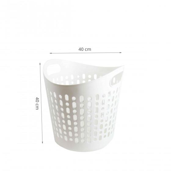 Panier à linge blanc en plastique souple et ajouré. Taille M