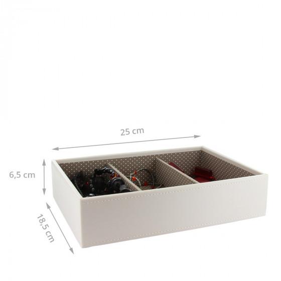 Plateau à bijoux vanille intérieur café avec 3 compartiments