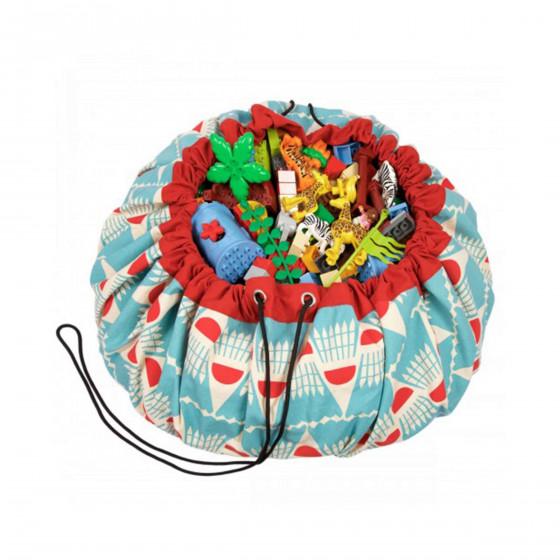 Tapis de jeu sac de rangement à motifs turquoise et rouge