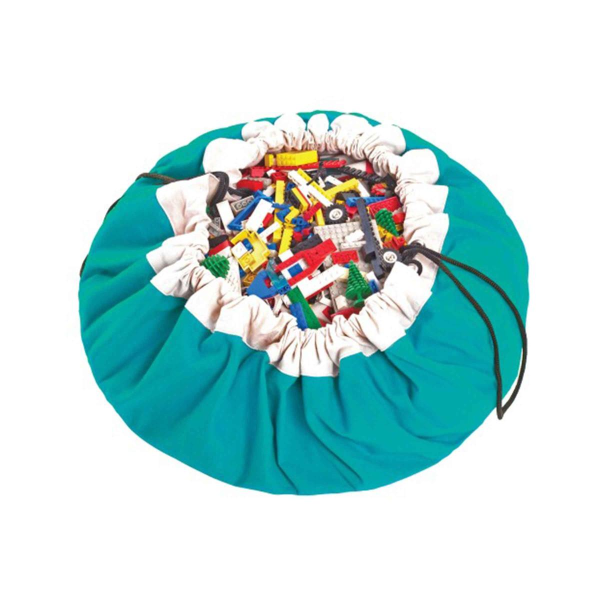 Tapis de jeu rangement jouets turquoise - Jeu rangement de chambre ...