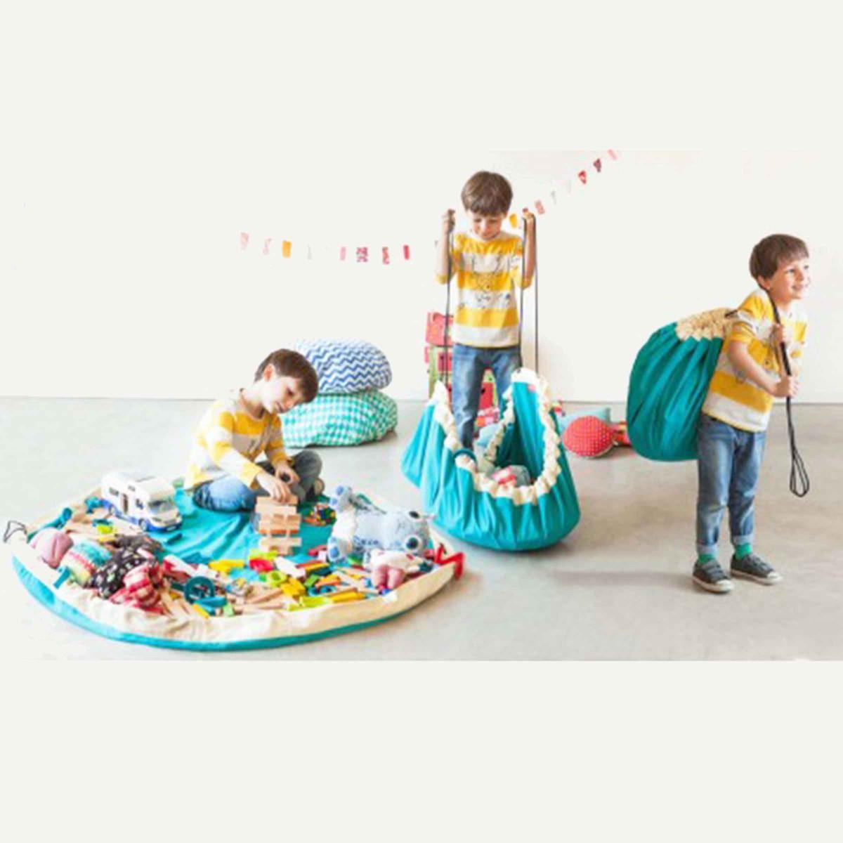 Tapis de jeu rangement jouets turquoise - Tapis enfant turquoise ...