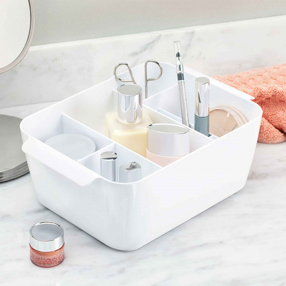 rangement maquillage 8 compartiments plastique blanc. Black Bedroom Furniture Sets. Home Design Ideas