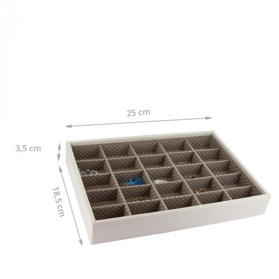 Plateau à bijoux vanille intérieur cafe  avec 25 compartiments