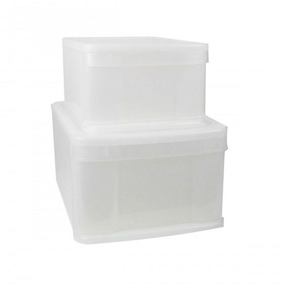 Boîte tiroir en plastique transparent. L