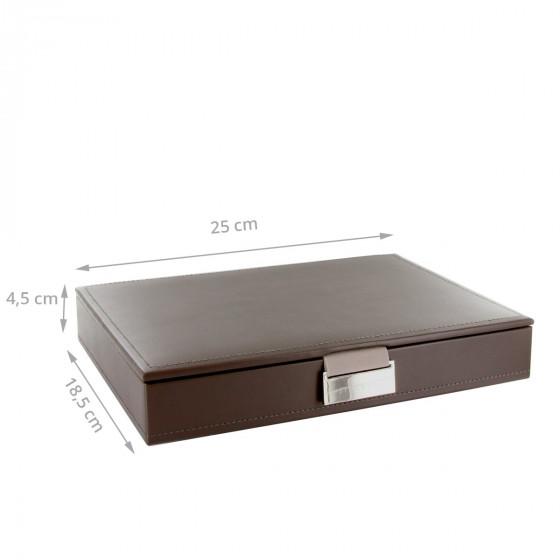 Boîte à bijoux avec couvercle taupe intérieur velours