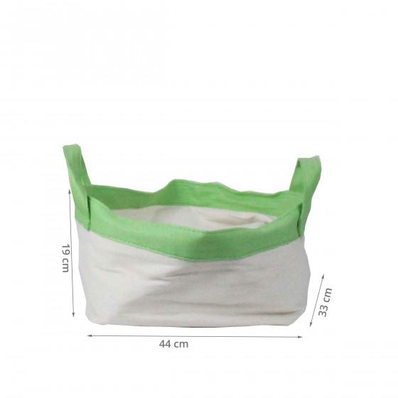 Panier en papier blanc et vert. (XL)