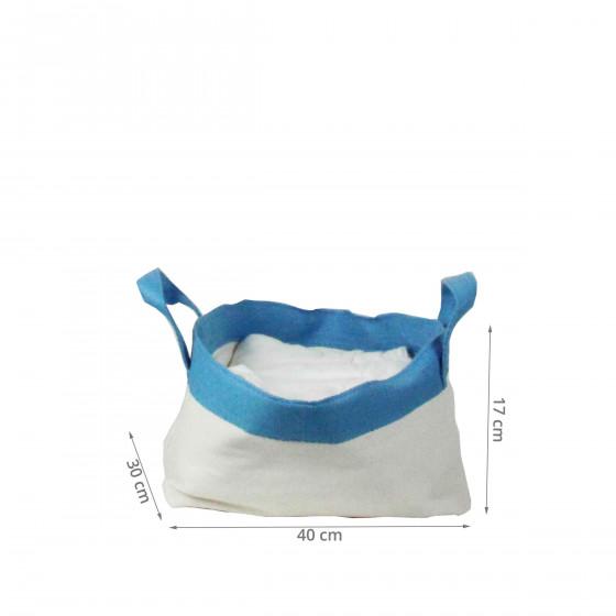 Panier en papier blanc et bleu. (L)