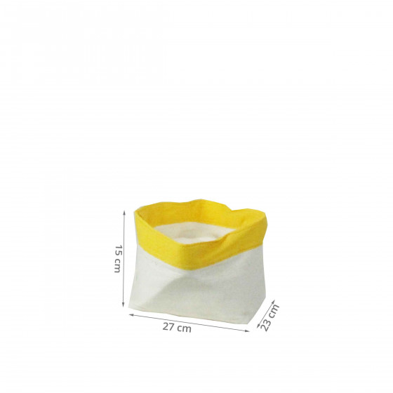 Panier en papier blanc et jaune. (M)