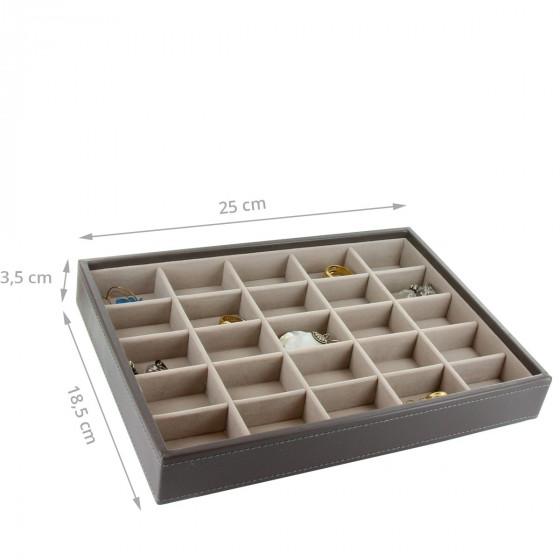 Plateau à bijoux taupe intérieur velours avec 25 compartiments