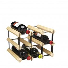 Rack à vin 9 bouteilles en bois et métal noir