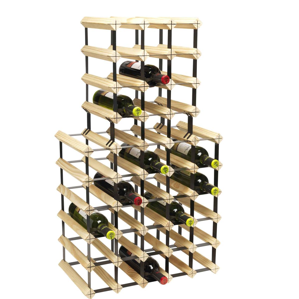 Rack à vin noir et bois - 9 bouteilles