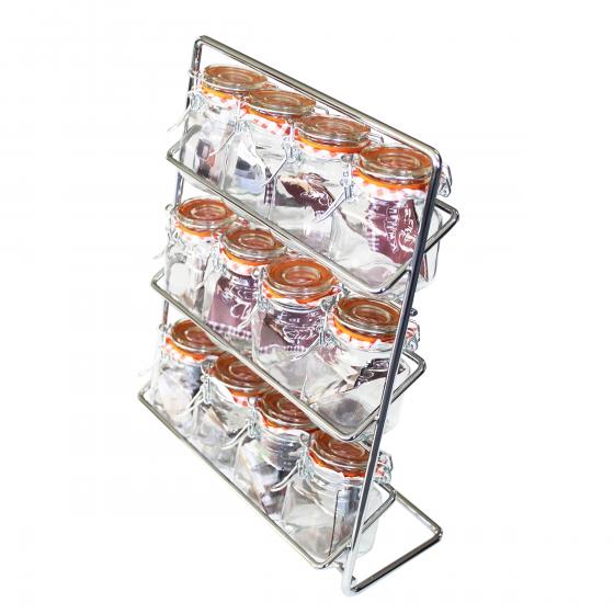Support à épices en métal avec 12 bocaux