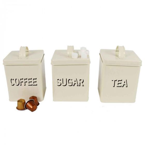 Boîtes à thé, sucre et café en métal crème