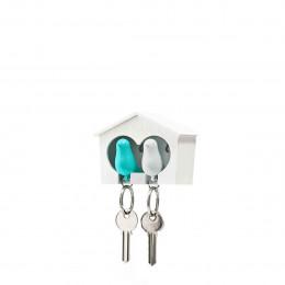Porte-clés mural avec oiseaux blanc et bleu