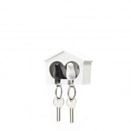 Porte-clés mural avec oiseaux blanc et noir