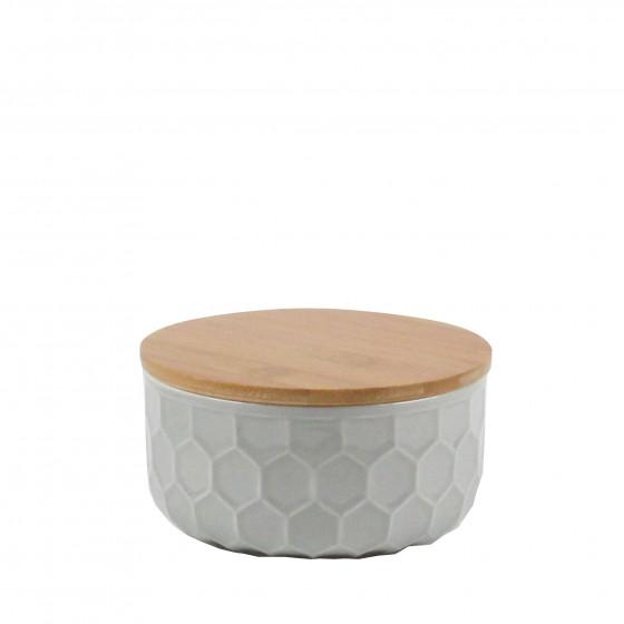 Pot extra-large en porcelaine gris clair avec un couvercle en bambou. taille L