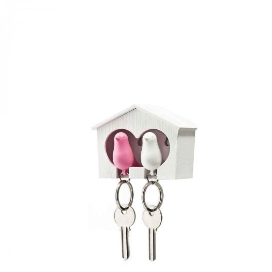 Porte-clés mural avec oiseaux blanc et rose