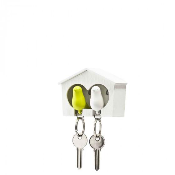 Porte-clés mural avec oiseaux blanc et vert