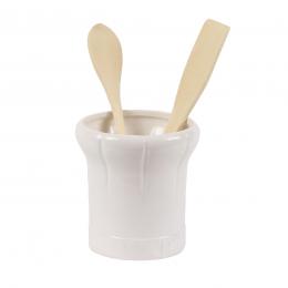 Pot à ustensiles de cuisine en porcelaine blanche