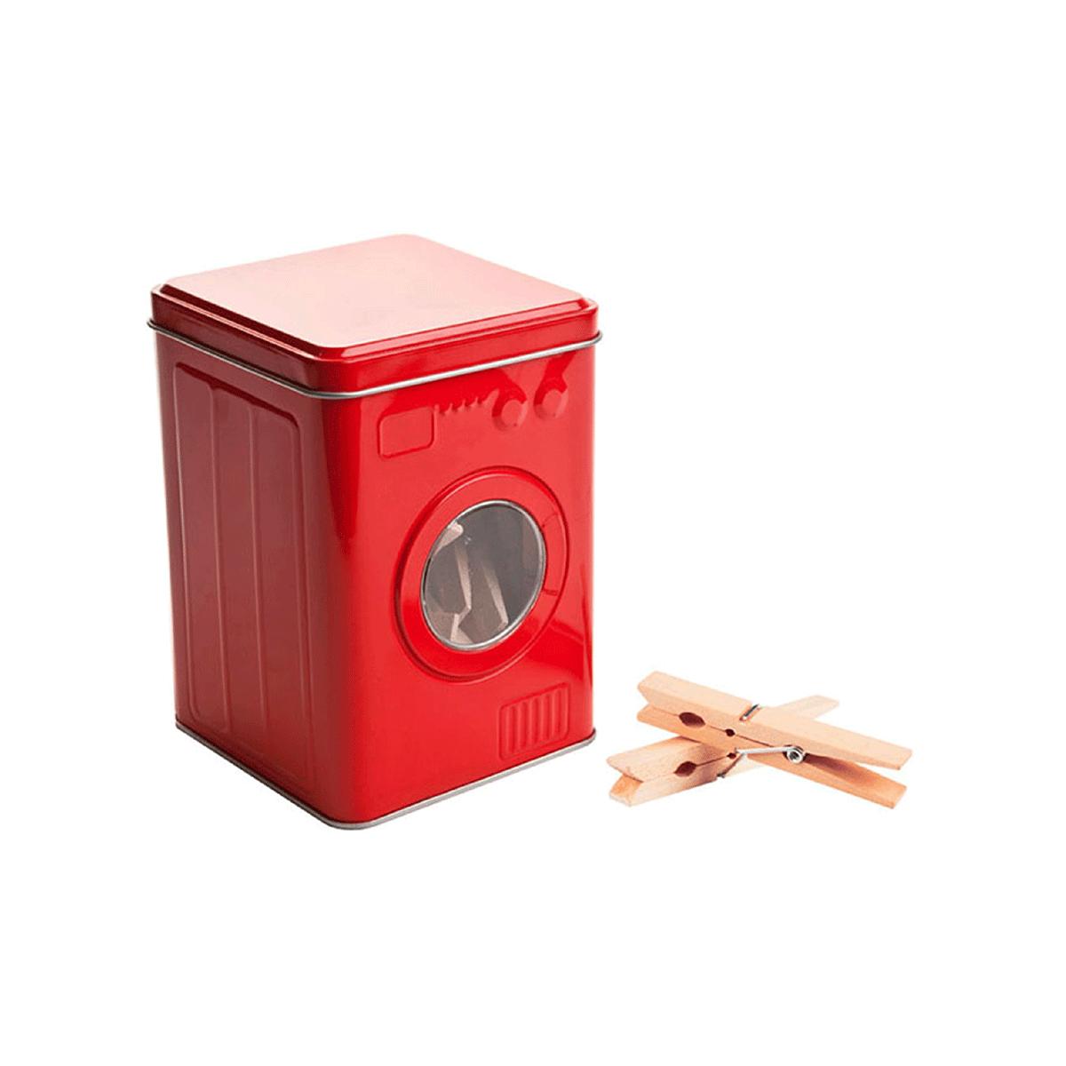 bo te de rangement pour pinces linge en m tal rouge et. Black Bedroom Furniture Sets. Home Design Ideas