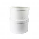 Grande boîte à chapeau blanche avec ruban blanc (L)