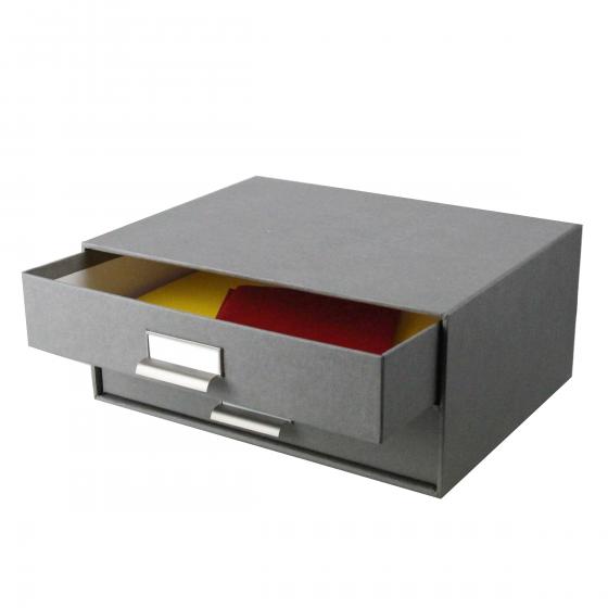 Boîte à 2 tiroirs en carton gris flanelle
