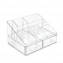 Organiseur de bureau transparent 7 compartiments et 2 tiroirs
