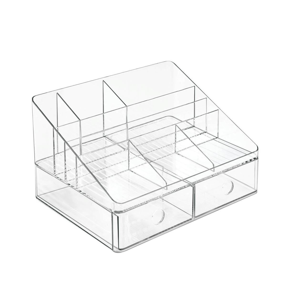 organiseur de bureau transparent 7 compartiments 2 tiroirs. Black Bedroom Furniture Sets. Home Design Ideas