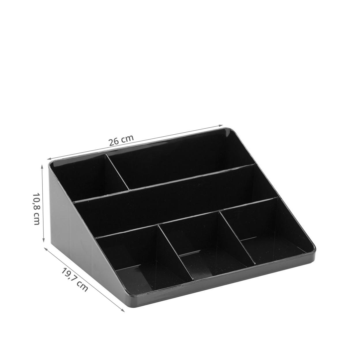 organisateur de bureau noir 6 compartiments. Black Bedroom Furniture Sets. Home Design Ideas