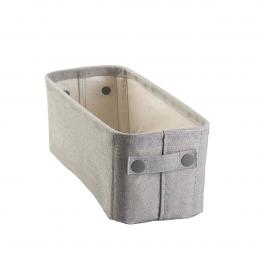 Bac de rangement en coton gris long et étroit.