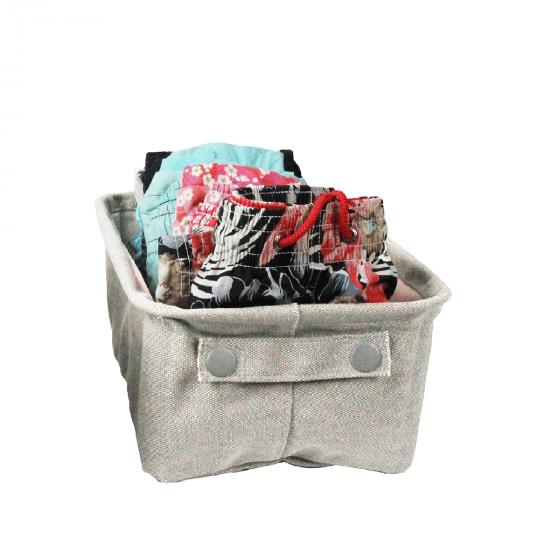 bac de rangement en coton enduit avec poign e. Black Bedroom Furniture Sets. Home Design Ideas