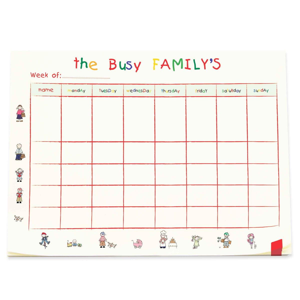 Grand bloc hebdomadaire pour organisation familiale - Planning repas semaine famille ...