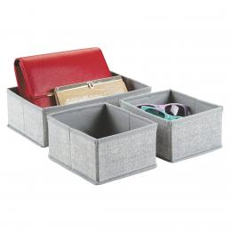 3 organiseurs de tiroir en tissu 2 carrés et 1 rectangulaire gris