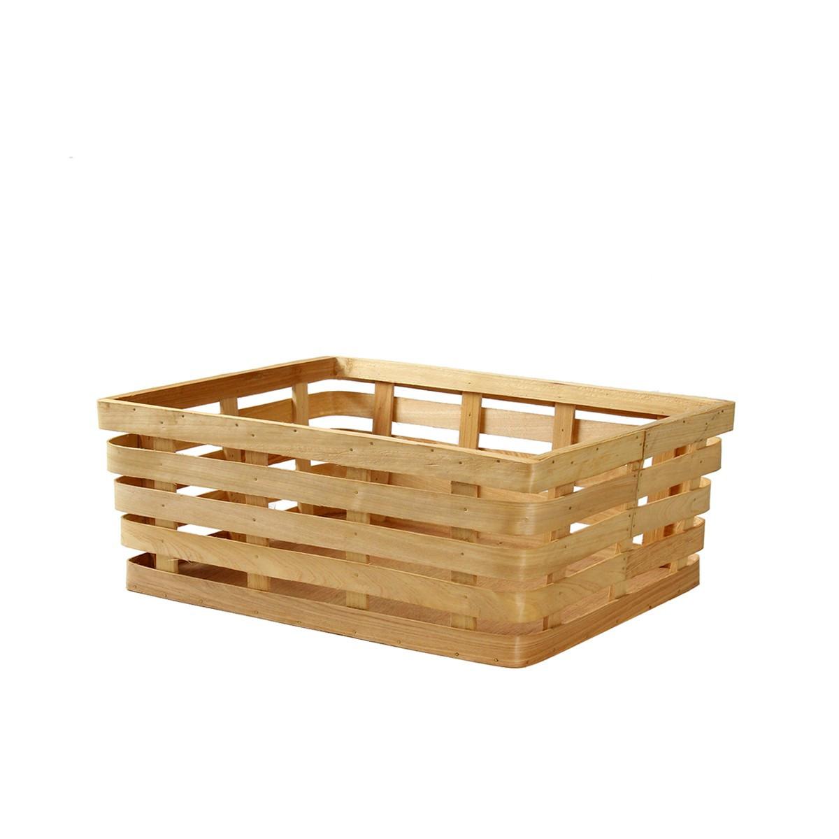 Panier de rangement rectangulaire en lattes de bois blond small - Panier de rangement rectangulaire ...