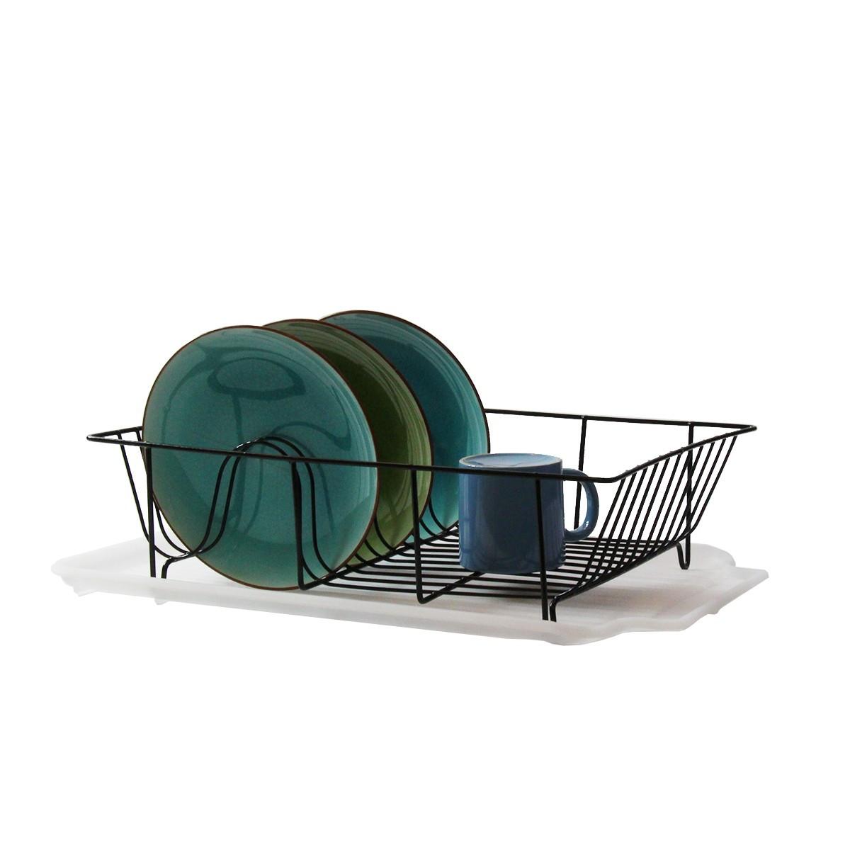 egouttoir en metal noir et plastique blanc rangement cuisine. Black Bedroom Furniture Sets. Home Design Ideas