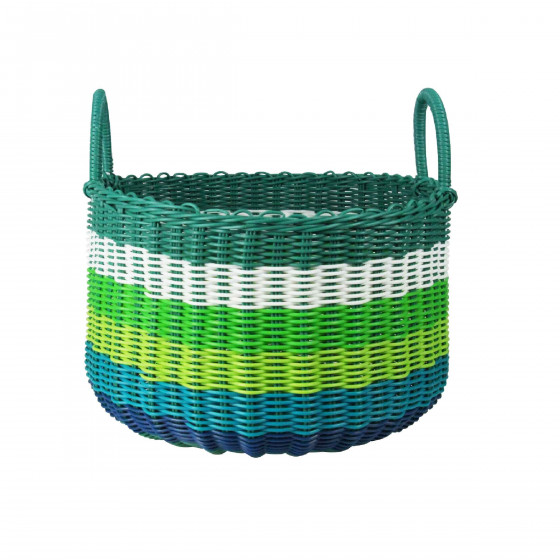 Panier en plastique tressé bleus/verts. Taille L